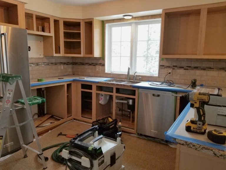 kitchen in the process of being remodeled in new hampshire